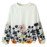 ROMWE Floral Embroidered White Sweatshirt
