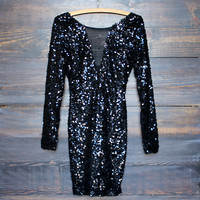 dazzling black sequin party dress