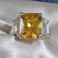 Vintage Radiant Cut Citrine and Diamond Baguettes 3-Stone Ring, Eco Friendly, Sterling Silver