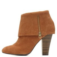 Qupid Cuffed Ankle Boots by Charlotte Russe - Camel