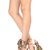 White Floral Faux Leather Ankle Tie Wedges