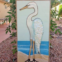 Coastal Wall Art- Shorebird Egret Painting- Mixed Media- Beach Decor- Cottage Art- 12 X24 inches