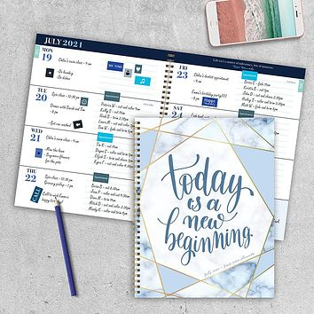 July 2021-June 2022 New Beginning Large Daily Weekly Monthly Planner + Coordinating Planning Stickers