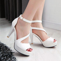 Fashion Women Heels Sexy High Heels Peep Toe Platform Sandals For Prom Nightclub Shoes Woman High Heels Sandals