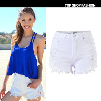 Sexy Women Girl Summer High Waist Ripped Hole Wash Denim Jeans Shorts Pants = 4721825604