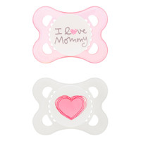MAM BPA Free 0-6 Months 2 Pack Love and Affection Pacifier - Pink I Love Mommy