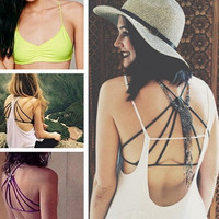 Women's Fashion Trendy Strappy Bandage Summer Bra Crop Top Casual Bustier = 1932337348