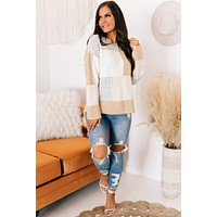All An Illusion Color Block Sweater (Camel Combo)