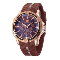 Armani Trending Women Men Personality Stylish Cool Watch Quartz Couple Wrist Watch Coffee