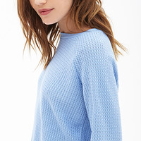 FOREVER 21 Popcorn Knit Sweater Sky Blue