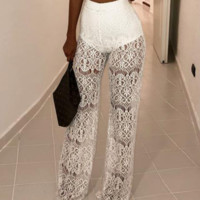 Hot style hot selling sexy high-waisted lace hollowout perspective stitching pants