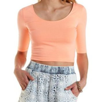 Crochet & Chambray Acid Wash Shorts by Charlotte Russe