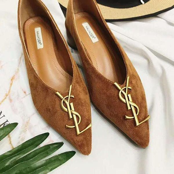 Image of Yves Saint Laurent YSL Trending Women Stylish Casual Leather Pointed Toe Flat Shoes Single Shoe Brown I12320-1