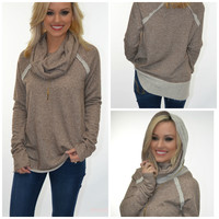 Boston Blizzard Mocha Cowl Neck Top