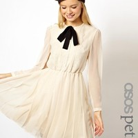 ASOS PETITE Exclusive Midi Dress with Lace Bib and Pussybow - Cream