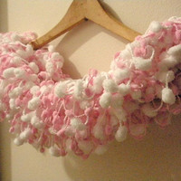 Pink and White Pom Scarf