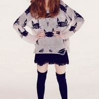 Kitty Cat Face Destroyed Sweater Cardigan