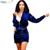 HAOYUAN Women velvet tracksuits autumn outfits long sleeve top and skirt suit casual black/blue velour sweatsuits two piece set