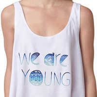 We Are Young Print Sleeveless Cropped Tank Top