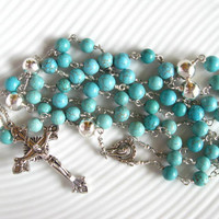 Catholic Rosary Turquoise and Silver Handmade Unbreakable