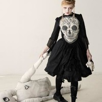 Gloomth ~ Robe du Crâne Gothic Formal Dress with Lace Skull