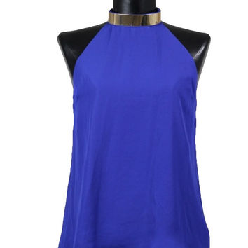 Cairo Gold Neck Cuff Strappy Back Top - Royal Blue