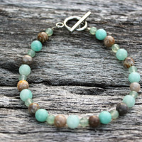 Amazonite, Aventurine, and Fossilized Coral Beaded Stone Bracelet with Stainless Steel Loop Toggle Clasp