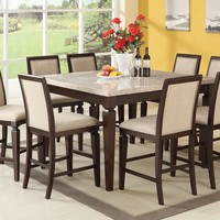 7 pc Agatha collection Espresso finish wood white marble top counter height dining table set with linen fabric padded seats