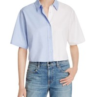 T by Alexander Wang Bicolor Cropped Button Down Shirt | Bloomingdales's