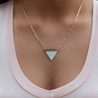 Poets Dream Gold Pearl Triangular Necklace