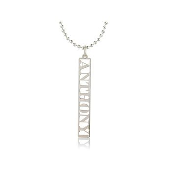 VERTICAL NAME PENDENT MALE - STERLING SILVER
