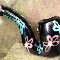 Black glass Sherlock pipe with hand drawn flowers in pink and turquoise