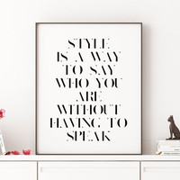 Stylish Art Style Quote Girly Art,Gift for Her Inspiring Quote Motivational Quote Fashion Quote Fashion Wall Art Wall Art Get Up Dress Up