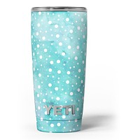 Light Blue and White Watercolor Polka Dots - Skin Decal Vinyl Wrap Kit compatible with the Yeti Rambler Cooler Tumbler Cups