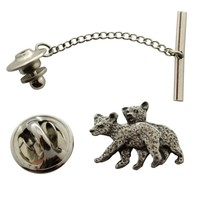 Twin Bear Cub Tie Tack ~ Antiqued Pewter ~ Tie Tack or Pin
