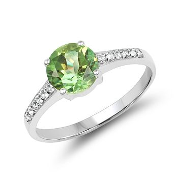 SALE  A Natural 1.32CT Round Brilliant Cut Green Peridot Solitaire Engagement Ring
