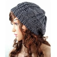 EVERMARKET(TM) Women Lady Winter Warm Knitted Crochet Slouch Baggy Beret Beanie Hat Cap Gray