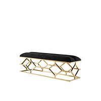 Black Velvet Gold Base Bench | Eichholtz Trellis