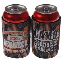 Redneck Drinking Team Camo Birthday Suit Can Cooler Lot of 4 Beverage Insulator