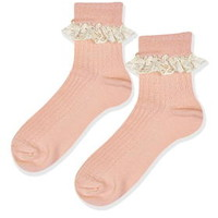 Lace Trim Ankle Socks - Peach