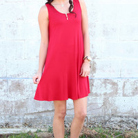 Basic Trapeze Tank Swing Dress {Red}