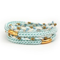 Mint braided wrap bracelet with beads and tubes