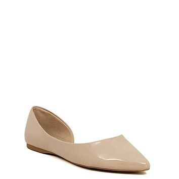 Independent Nude Patent Leather Open Side Pointed Toe Ballet Flats