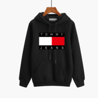 """Tommy Jeans"" Unisex Sport Casual Letter Pattern Print Couple Thickened Long Sleeve Hooded Sweater Sweatshirt Tops"