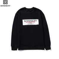 Givenchy new men and women models wild cotton printed round neck sweater Black