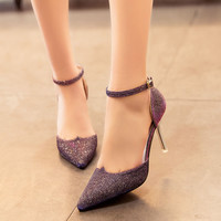 New Fashion Ladies High Heels Buckle Strap Women Pointed Toe Shoes Stiletto Gorgenous Ladies Shoes#HR168
