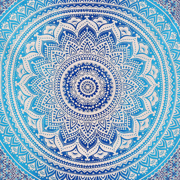 Indian Sacred Mandala Queen Dorm Room  210cm x 240cm Bed Sheet Cover Wall Hanging Tapestry Festival Boho Wall Art UK