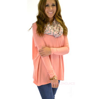 SZ LARGE Galloway Peach Piko Long Sleeve Top