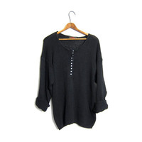 Black Knit Henley Sweater 90s Button Up Thin Knit Sweater Basic Woven Top Boho Modern Slouchy Minimal Pullover Vintage Small Medium