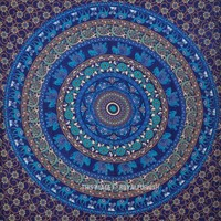 Twin Blue Elephant Mandala College Medallion Indian Tapestry Wall Hanging Bedspread - RoyalFurnish.com